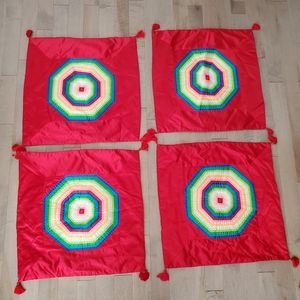 Set of 4 vintage cushion covers with rainbow design